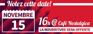L'Assemblée générale est le 15 novembre à 16h, au Café Nostalgica